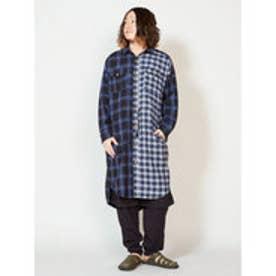 【チャイハネ】チェックMEN'Sロングシャツ ブルー