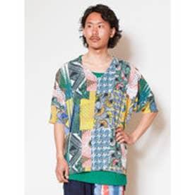 【チャイハネ】yul アフリカ・キテンゲ柄メンズトップス&タンクトップ2点セット グリーン