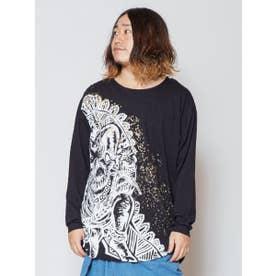 【チャイハネ】ガネーシャプリントメンズTシャツ ブラック