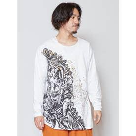 【チャイハネ】ガネーシャプリントメンズTシャツ ホワイト