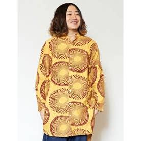 【チャイハネ】アフリカンプリントバンドカラーMEN'Sシャツ イエロー