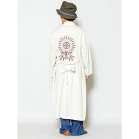 【チャイハネ】ネイティブアメリカンバック刺繍MEN'Sロングカーディガン ホワイト