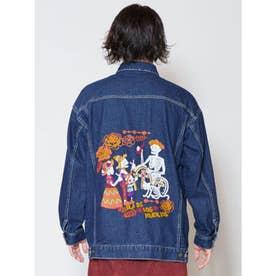 【チャイハネ】カラベラ刺繍MEN'Sデニムジャケット ダークブルー