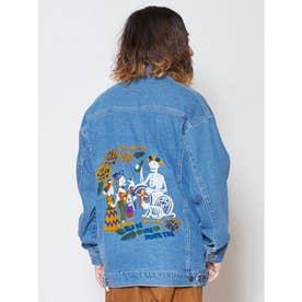 【チャイハネ】カラベラ刺繍MEN'Sデニムジャケット ライトブルー