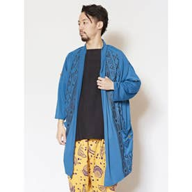 【チャイハネ】yul 幾何学柄MEN'Sロングカーディガン ブルー