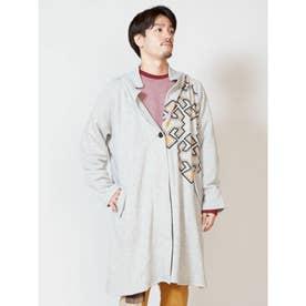 【チャイハネ】ジオメ柄プリントMEN'Sフードジャケット ロングカーディガン グレー