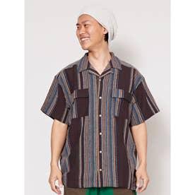 【チャイハネ】南インド産ストライプ織り柄メンズシャツ ブラック