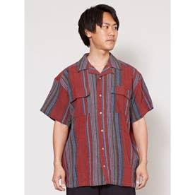 【チャイハネ】南インド産ストライプ織り柄メンズシャツ レッド