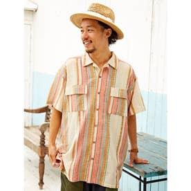 【チャイハネ】南インド産ストライプ織り柄メンズシャツ ホワイト