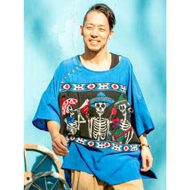 【チャイハネ】カラベラ柄プリント&刺繍MEN'Sトップス ブルー