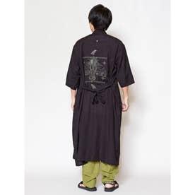 【チャイハネ】グアジャベラ刺繍MEN'Sロングカーディガン ブラック