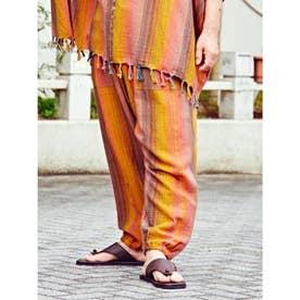 【チャイハネ】yul 南インドコットン ストライプ織りMEN'Sパンツ オレンジ