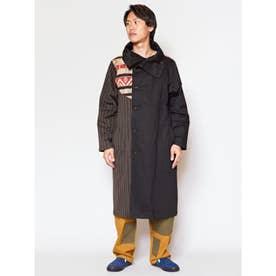 【チャイハネ】ノマド異素材パッチワークMEN'Sロングジャケット ブラック