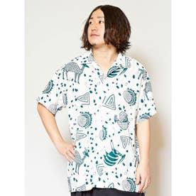 【チャイハネ】アフリカン柄MEN'Sシャツ ホワイト