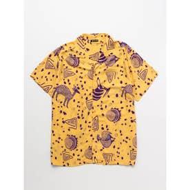 【チャイハネ】アフリカン柄MEN'Sシャツ イエロー