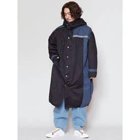 【チャイハネ】バック刺繍ボアMEN'Sフードコート ブラック