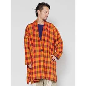 【チャイハネ】チェック織りMEN'Sロングカーディガン オレンジ