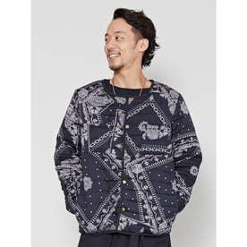 【チャイハネ】バンダナ柄中綿キルティングMEN'Sジャケット ブラック