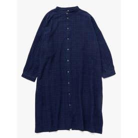 【チャイハネ】グレンチェック柄バンドカラーMEN'Sロングシャツ ブラック