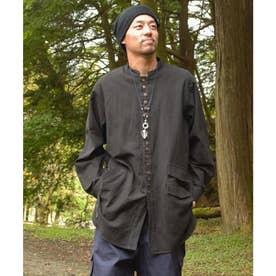 【チャイハネ】ハイローヘムMEN'Sバンドカラーシャツ ブラック