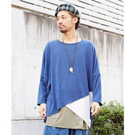 【チャイハネ】yul レイヤードニットソーMEN'Sトップス ブルー