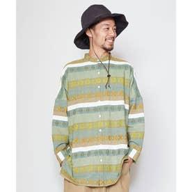 【チャイハネ】ヨーグルMEN'Sバンドカラーシャツ グリーン