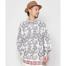 【チャイハネ】yul ブロックプリントMEN'Sシャツ ホワイト