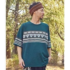 【チャイハネ】yul キリムラグ柄プリントメンズTシャツ グリーン