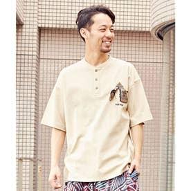 【チャイハネ】grn×Amina ココペリメンズTシャツ ベージュ