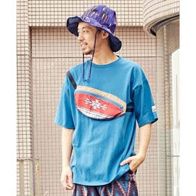 【チャイハネ】grn×Amina ショダーメンズTシャツ ブルー