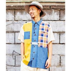 【チャイハネ】チェックパッチワークMEN'Sシャツ ベージュ