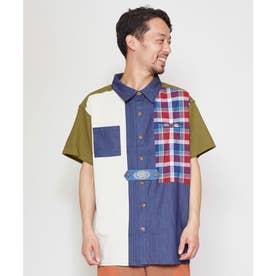 【チャイハネ】チェックパッチワークMEN'Sシャツ カーキ