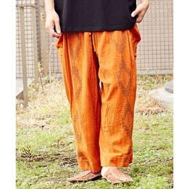 【チャイハネ】南インドの織り布 サハラMEN'Sパンツ オレンジ