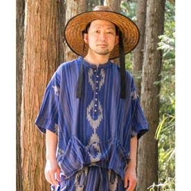 【チャイハネ】南インドの織り布 サハラMEN'Sトップス ブルー