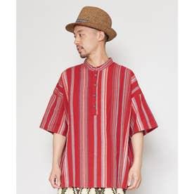 【チャイハネ】南インドの織り布 マルチストライプMEN'Sトップス レッド