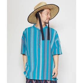 【チャイハネ】南インドの織り布 マルチストライプMEN'Sトップス ターコイズブルー