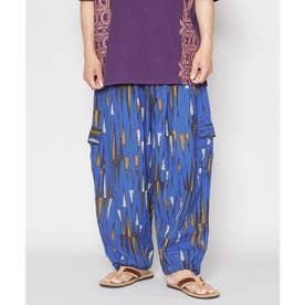 【チャイハネ】アフリカン幾何学柄MEN'Sパンツ ブルー
