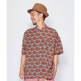 【チャイハネ】アフリカン幾何学柄MEN'Sバンドカラーシャツ レッド