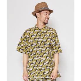 【チャイハネ】アフリカン幾何学柄MEN'Sバンドカラーシャツ イエロー