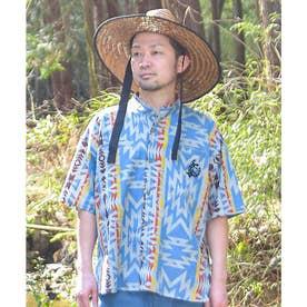【チャイハネ】グラウンドMEN'Sバンドカラーシャツ ターコイズブルー