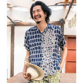 【チャイハネ】ジャングルMEN'Sシャツ ネイビー