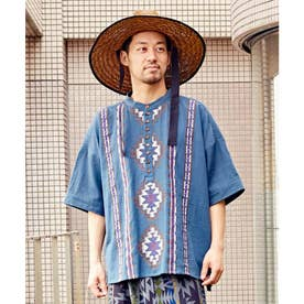 【チャイハネ】カフタンMEN'Sシャツ ブルー