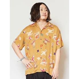 【チャイハネ】メキシカン柄MEN'Sアロハシャツ キャメル