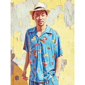 【チャイハネ】メキシカン柄MEN'Sアロハシャツ ターコイズブルー