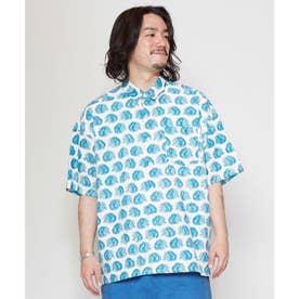 【チャイハネ】ブロックプリント サファリーMEN'Sシャツ ブルー