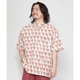【チャイハネ】ブロックプリント サファリーMEN'Sシャツ レッド