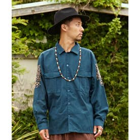 【チャイハネ】ジプラー刺繍メンズシャツ ブルー