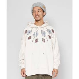 【チャイハネ】grn×Amina ネイティブ柄刺繍MEN'Sビッグシルエットフーディー ホワイト