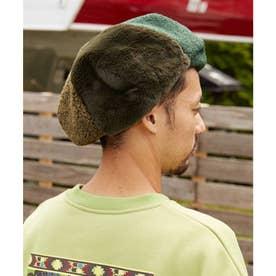 【チャイハネ】ボア&フェイクファーベレー帽 グリーン