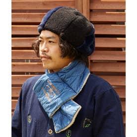【チャイハネ】ボア&フェイクファーベレー帽 ネイビー
